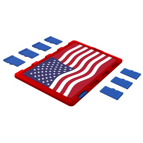 DiMeCard micro8 microSD Memory Card Holder RED US FLAG Edition (Ultra thin credit card size holder, writable label)