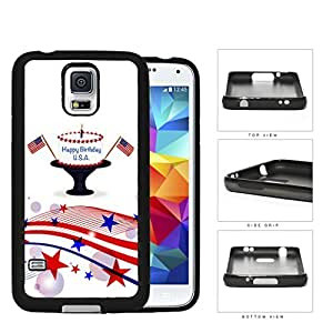 Happy Birthday USA 4th of July Cake with USA Flags Samsung Galaxy S5 SM-G900?Rubber Silicone TPU Cell Phone Case by lolosakes