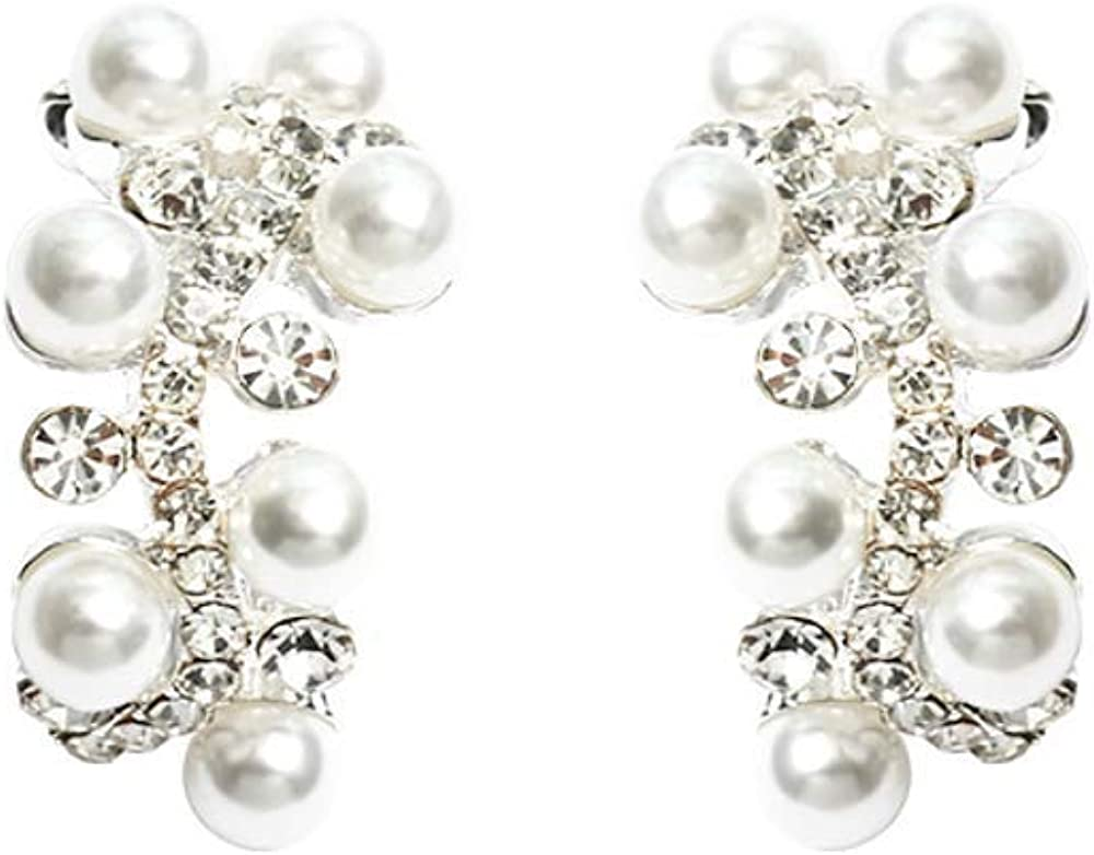 Pendientes de aguja de plata S925, pendientes de perlas de piedras preciosas, accesorios para damas 3 * 1.5cm
