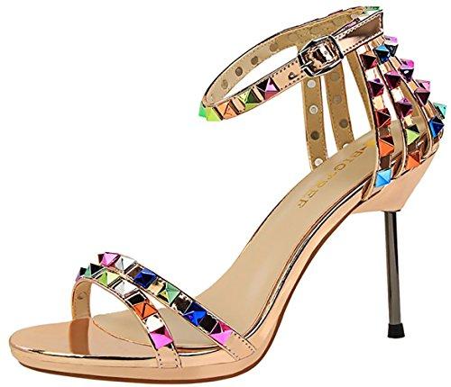 CM Gold Schnalle Schuhe Sandalen 9 Stiletto 5 Toe Calaier Peep Frauen Catxax xvqgPgY