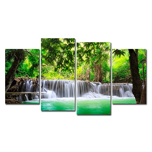 Horgan Art Unframed Prints Wall Art 4 Pieces Landscape Painting, Green Trees Forest Waterfall Picture Printed on Canvas Modern Artwork Home Decor (No Frame)