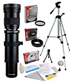 Opteka 420-1600mm f8.3 Telephoto Lens with UV Filter and Tripod for Nikon D5, D4s, D4, Df, D810, D800, D750, D610, D600, D500, D7500, D7200, D5600, D5500, D5300, D3400, D3300 Digital SLR Cameras
