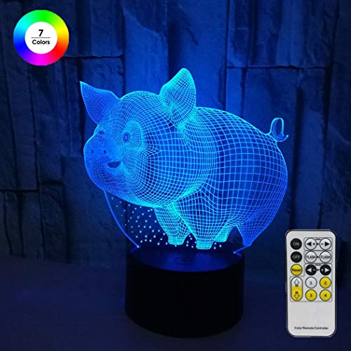Aidool Novelty 3D Pig Lamp for Kids Optical Illusion Night Light Bedside Lamp 7 Colors Changing with Remote Control Cool Birthday Gifts for Boys Girls Kids ()