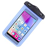 Universal Protective Waterproof Bag / Pouch / Cover / Case for BLU Life Pure / Life One L120 with Responsive Screen Protector Windows and Strap Fit up to 5.5 Inch Ios Windows Android Smart Phone + SumacLife Wisdom Courage Wristband (Blue)