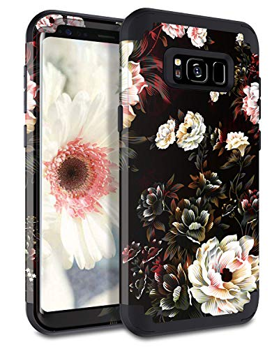 Lontect Compatible Galaxy S8 Case Floral 3 in 1 Heavy Duty Hybrid Sturdy Armor High Impact Shockproof Protective Cover Case for Samsung Galaxy S8, Black/White Flower