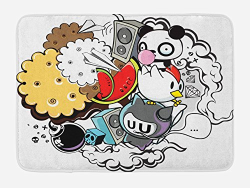 Ambesonne Indie Bath Mat, Animal and Food Themed Composition