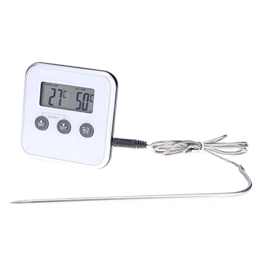 Digital Cooking Meat Thermometer,Timer Food Meat Temperature Meter Gauge with Probe