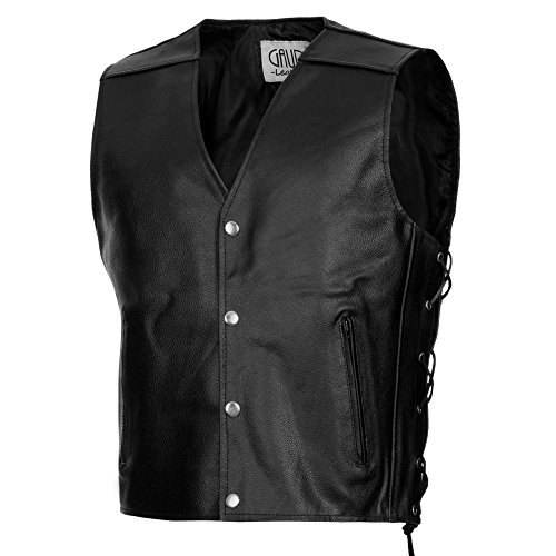 Gaudi-leathers Mens Leather Waistcoat Motorcycle Motorbike Chopper Biker Vest 3XL Black