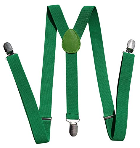 Suspenders for Men, Women and Teens. Fashionable, Functional, 1-inch Wide Designer Solid Color Y-Back Clip Suspender by Alex Palaus Collection (TM) (Kelly Green)
