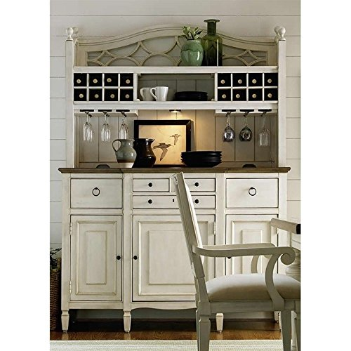 Universal Furniture Summer Hill Complete Bar Hutch with Serving Buffet, Cotton