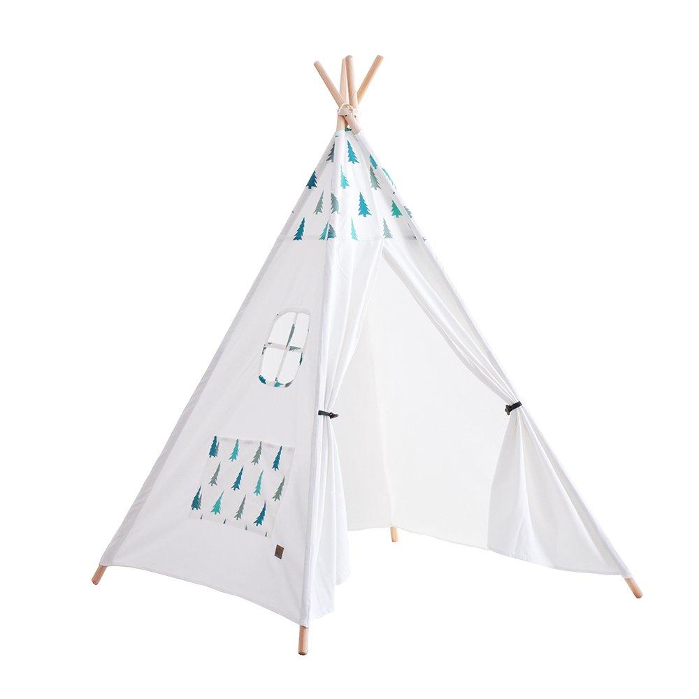 Generar Teepee tienda de campaña para niños indio sala de lectura de casa de juegos, regalos para niños pequeño árbol patrón 4 bastones de madera lienzo Tipi con bolsa de transporte (sin alfombra de algodón