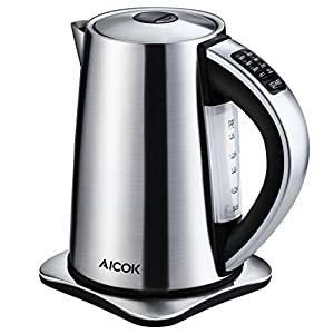 Electric Kettle Aicok 6-Temperature Control and Keep Warm Function, 1.7Liter Brushed Stainless Steel Kettle Fast Tea Kettle 1500W, Auto Shut Off Boiler