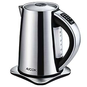 Aicok Electric Kettle Precise Temperature Control Hot Water Kettle Stainless Steel Tea Kettle, 1.7 Liters, 1500Watt