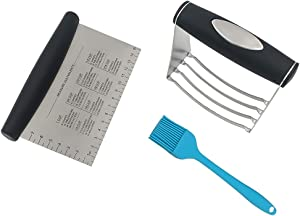 Pastry Cutter Set, Dough Blender, Stainless Steel Dough Scraper, and Pastry Brush, for Pastry Dough Tools and Baking Tools Set