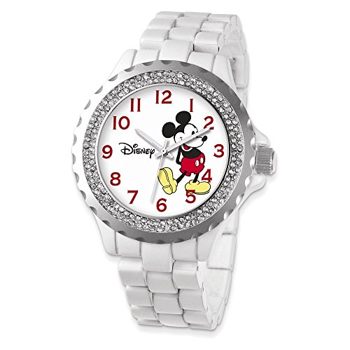 Disney Adult Size White Band w/Crystal Bezel Mickey Mouse Watch