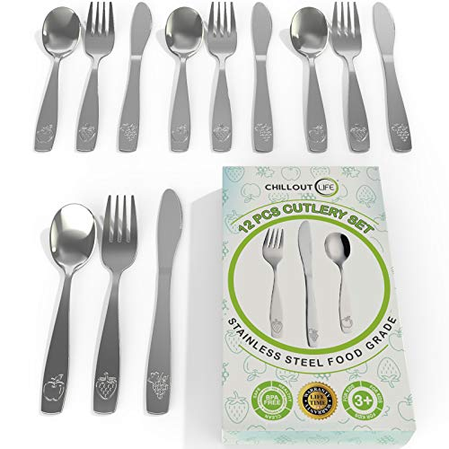 Set Meal Mini (12 Piece Stainless Steel Kids Silverware Set | Child and Toddler Safe Flatware | Kids Utensil Set | Metal Kids Cutlery Set Includes 4 Small Kids Spoons, 4 Forks & 4 Knives)