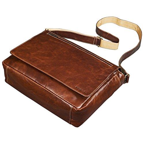 STILORD Phil Vintage Leder Umhängetasche für Herren und Damen Laptoptasche Unitasche Aktentasche Bürotasche Tasche echtes Leder, Farbe:dunkel - braun rot - braun