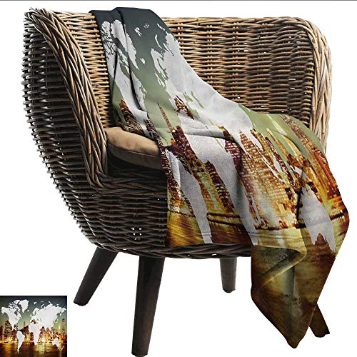 Davishouse World Reversible Blanket World Global Cartography Globalization Earth International Concept New York City All Season for Couch or Bed 36