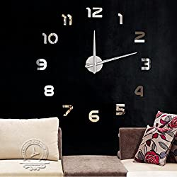 Ikevan 1Set Fashion DIY Large 3D Number Acrylic Mirror Wall Sticker Clock Big Watch Home Decor Art Clock (Silver)