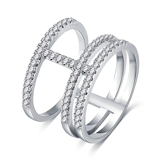 White Gold Plated Rings for Womens Stackable Ring Round Brilliant Crystal Size 6 Promise Ring
