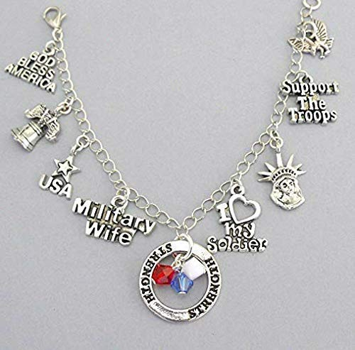 (Army Charm Bracelet or Necklace, Gift for Military Wife of the United States Armed Forces)