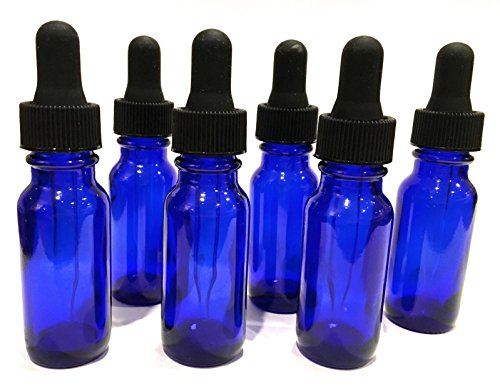 Acquisition (6) 1/2oz Cobalt Blue Glass Bottle Eye Dropper For Essential Oil ALWAYS NATIVE compare