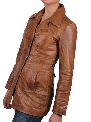 Peau Bronzer Veste Brandslock Longues Femmes Mouton Veritable Cuir De fqw51x