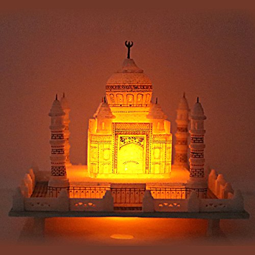 Hashcart Handmade & Handcrafted Colorful Marble Taj Mahal Showpiece With Tea Light for Home Décor / Office / Gift