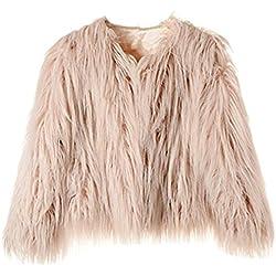 Dikoaina Women's Solid Color Shaggy Faux Fur Coat Jacket (US10, Pink)