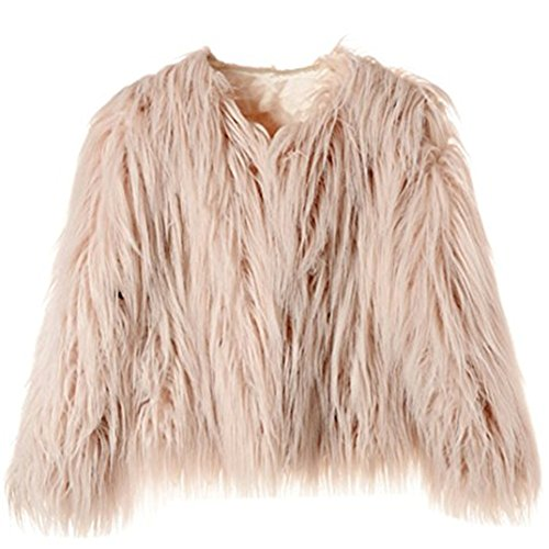 Dikoaina Women's Solid Color Shaggy Faux Fur Coat Jacket (US10, Pink)