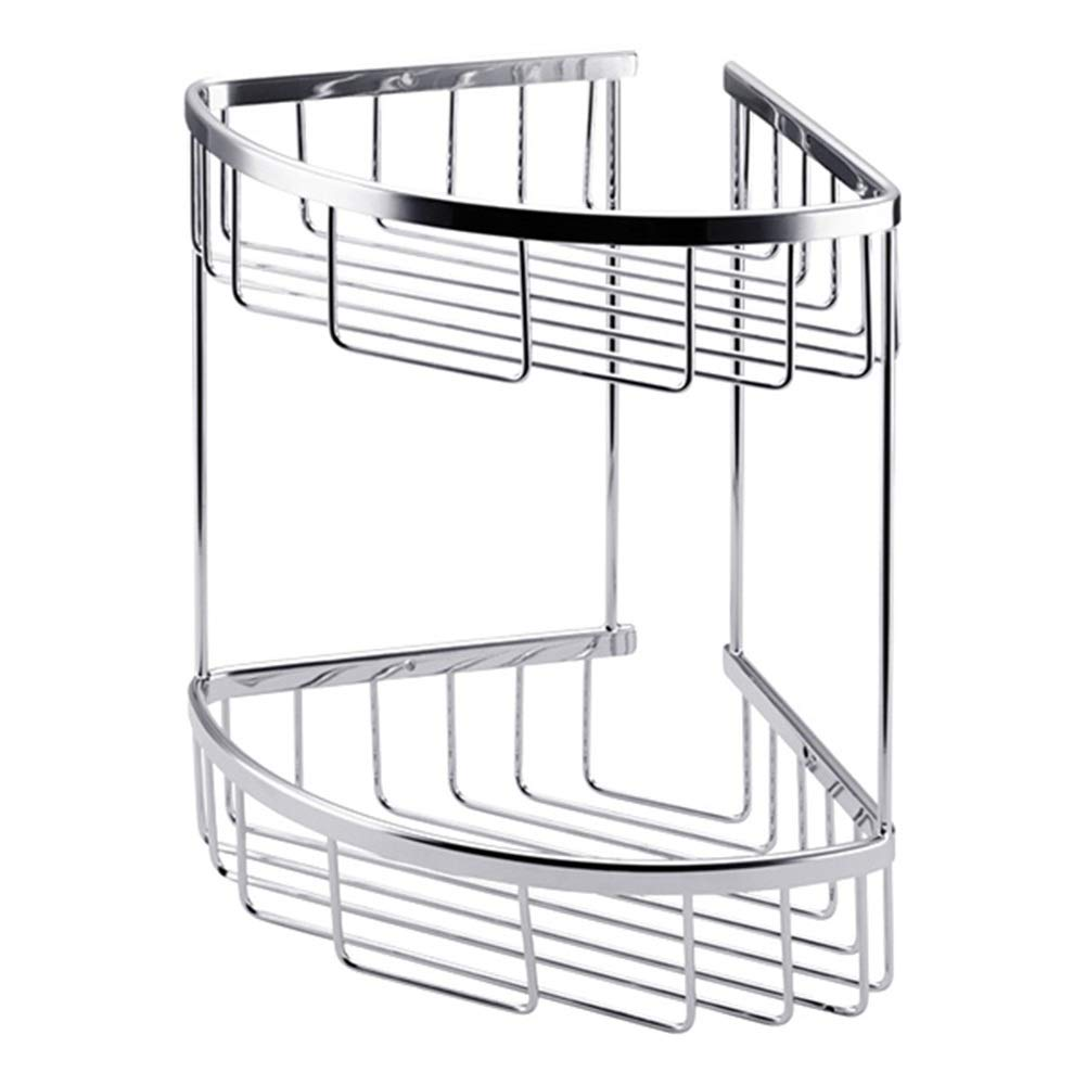ZHANWEI Bathroom Shelves Shower Organiser Copper Triangle Wall-Mounted Gold 2 Tiers Corner Net Basket, 2 Colors (Color : Silver, Size : 200x200x270mm)