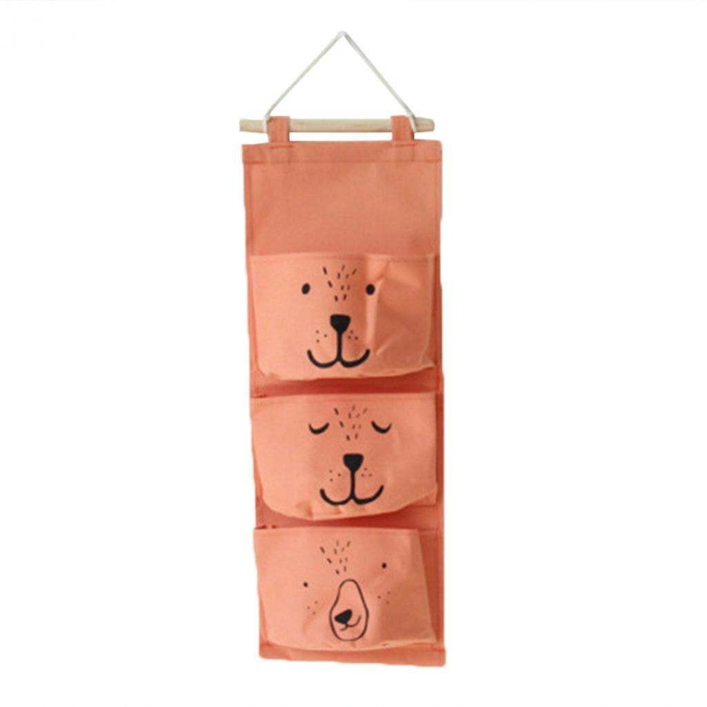 Geshiintel 3Pockets Wall Hanging Storage Bag Home Closet Door Toy Cosmetic Organizer Pouch - Grey