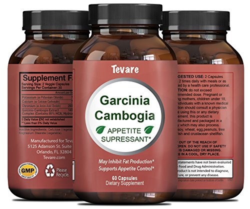 Pure Garcinia Cambogia Extract - 95% HCA - Blocks Carb Digestion - Burns Belly Fat - Improves Metabolism - Powerful Appetite Suppressant - Natural Weight Loss Pills For Men & Women - By Tevare