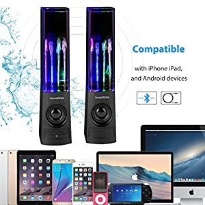 SoundSOUL Bluetooth Dancing Water Speakers LED Speakers Wireless Water Fountain Speakers (Bluetooth4.0, 4 Colored LED Lights, Dual 3W Speakers, Built-in Rechargeable 1800mAh Battery,Gift) -Black