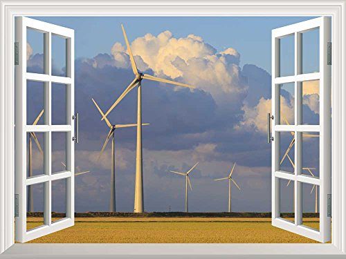 Removable Wall Sticker Wall Mural Wind Energy Turbines in Summer with a Blue Sky Creative Window View Wall Decor