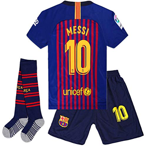 Cyllr Barcelona Home Kids/Youth 2018-2019 Season #10 Messi Socce Jersey Matching Shorts,Socks.Color Blue/Red Size 11-12Years(26) ()