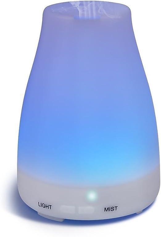 HOMREE 100mL加湿器アロマセラピー エッセンシャル 油 ディフューザー、7 カラフル LED ライト、調節可能な ミスト モード そして オート シャット- オフ