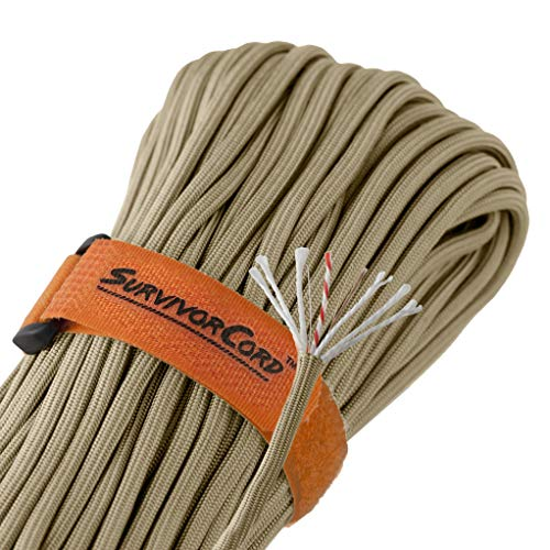 Titan SurvivorCord | Desert TAN | 103 Feet | Patented Military Type III 550 Paracord/Parachute Cord (3/16'' Diameter) with Integrated Fishing Line, Fire-Starter, and Utility Wire. by Titan Paracord (Image #1)
