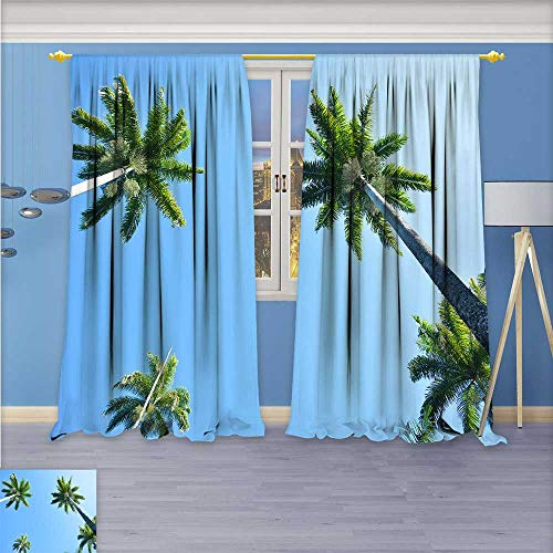 aolankaili Kids Room Planets Curtains (2 Panels),Palm Trees Thermal Insulated Blackout Curtains with Star Prints, 96W x 72L Inch ()