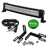20 inch 120W Straight Combo LED Light Bar w/wiring Kit & Front Lower Hidden Bumper Mounting Brackets & Billet Aluminum Green Diesel Fuel Cap Fits 2013-2018 Dodge Ram 2500 3500