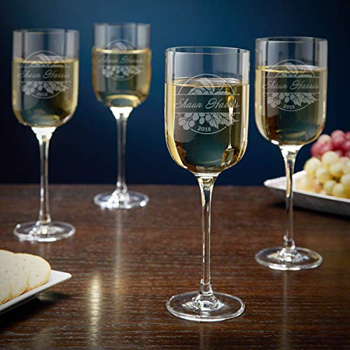 Rhone Valley Personalized Long Stem Wine Glasses, Set of 4 (Custom Product)