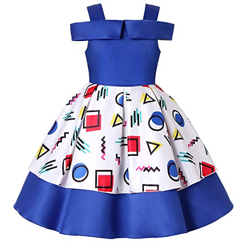 Girls Dresses Size 4 Formal Bridesmaid Party Dress Gown Wedding Dress Kids Blue Flower Girl Dress Fancy Dress for Girls Blue Girl Dresses Pageant Dresses for Girls Prom Dress 3-4 Years (1865 Blue,4) -