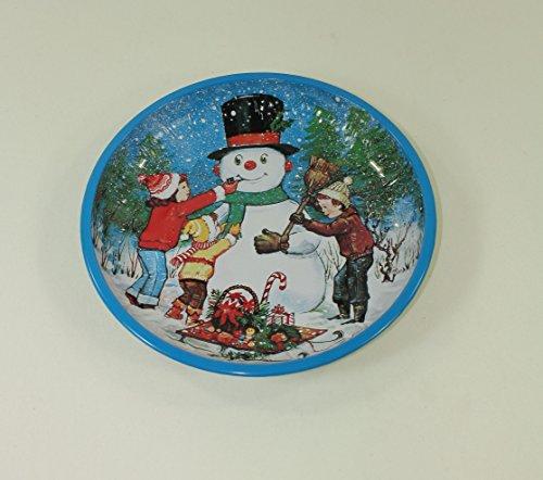 2 Stück GEBÄCKTELLER - SCHNEEMANN - 25 cm, Metall, Weihnachtsteller Retro Nostalgie Weihnachtskopf Santaclaus Gebäckschalen Knabberteller Weihnachtsmannmütze Weihnachtsfeier Santa Claus Nikolausmütze Zipfelmütze