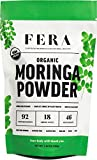 100% Pure Raw Organic Moringa Leaf Superfood Powder 5.64 oz - Ultra Potent Plant Sourced Omegas, Phytonutrients, Amino Acids, Iron, Potassium - Energy Boosting Antioxidant Supplement by FERA Moringa