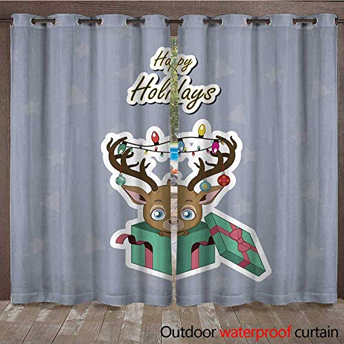 Outdoor Curtains for Patio Sheer Greeting of a Cute Reindeer with Decorated Antlers W72 x - Decorated Pipe Antler