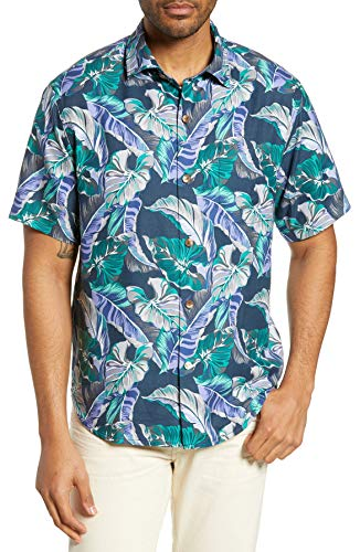 Silk Blend Camp Shirt - Tommy Bahama Island Zone Let's Be Fronds Silk Blend Camp Shirt (Color: Navy, Size XL)