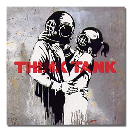 Banksy - Blur Think Tank Frontal Street Graffiti Stencil Art