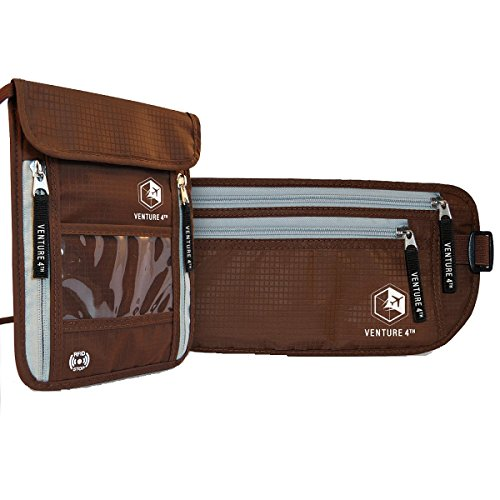 Collection Travel Wallet (RFID Blocking Money Belt Travel Wallet and Neck Pouch Passport Holder Twin Pack to keep your Cash Safe when Traveling Safety Stash Collection (Brown Neck Pouch + Brown Money Belt))