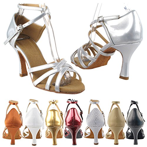 SERA1700 Salsa Shoes Tango Salsa Shoes Pigeon Dress Party Medium High Tango Evening Wedding Ballroom Shoes Swing Gold Brown Heel Comfort Pump Dance Swing Latin Latin Leather 1606 Party Women Beige 6IvnBdWq