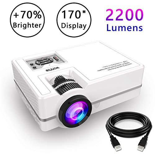 Projector, WONNIE Mini Projector 2200 Lumens 170